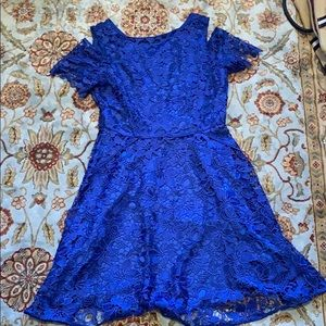 Cold shoulder blue lace a-line dress